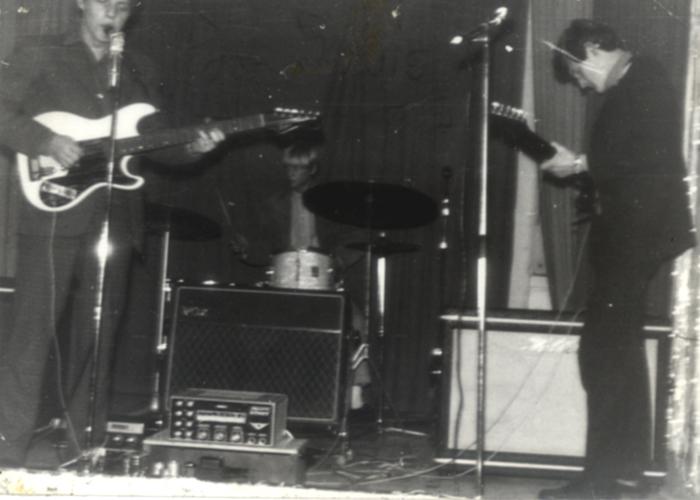 Hørsholm billeder musik gruppen Poor Souls spiller til skolebal på Hørsholm skole 1967.