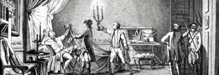 Struensee arresteres på Christiansborg 17. januar 1772 kl. 4 om morgenen