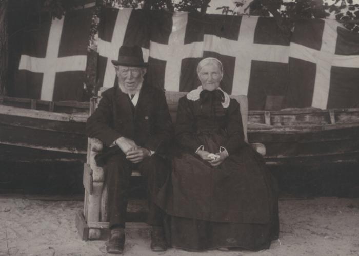 Rungsted Havn Fisker Niels Olsen og hustru, da de fejrede deres diamantbryllup i 1898.