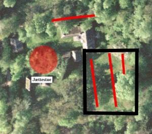 Fig. 2 Luftfoto med røde grøfter, kopi