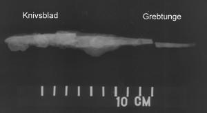 Fig. 7 Røntgenfoto af kniv, billedbehandlet