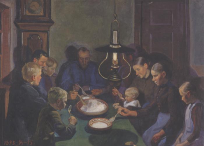 bondemad der spises grød, maleri af Fritz Syberg