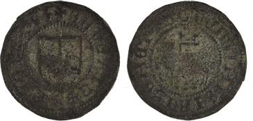 Skilling fra Gotland med Søren Norbys våbenskjold på den ene side og Guds lam motiv på den anden