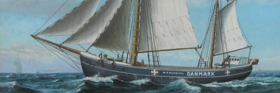 Skonnerten M.A. Flyvbjerg, der sejlede 187 jødiske flygtninge til Sverige. Maleri af Frederik Ernlund, 1943